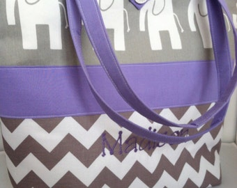 Large Modern Custom Diaper Bag/Tote...Ele Elephants with Chevron and Your choice of accent color...Can be Personalized...Shower Chic