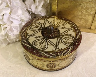 Pretty Vintage Tin Box, Mid Century, Brown and White, Art Deco Scrolls, Holland Dutch, Vintage Candy Tin, Cottage Chic