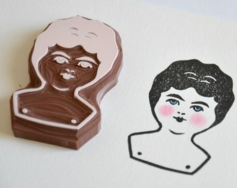 Hand Carved Rubber Stamp / Charlotte Doll Head / Eraser Stamp