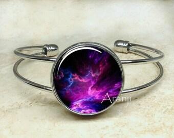 Purple nebula bracelet, nebula bracelet, nebula bangle, nebula jewelry