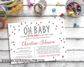 Silver and Pink Baby Girl Shower Invitations - Confetti, Glitter style and Pink, Girl, Bring A Book Poem _ 1121Silver