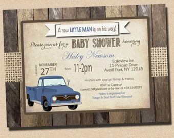 Rustic Baby Boy Shower Invitation in Baby Blue with Vintage Truck Blue - printable _1007