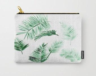 Palm Leaf Carry All Pouch, palm makeup bag, carry all, palm leaf pouch, palm leaves pouch, tropical pouch, bridesmaid pouch, modern pouch