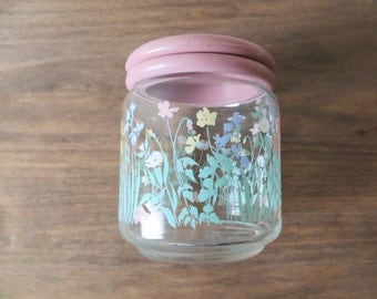 Vintage Floral Glass Jar with Air Tight Lid, Pastel Pink, Boho Country Chic Spice Jar Apothecary Container