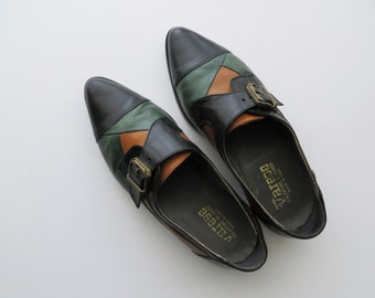 80s Varese Oxfords Black Colorblock with Brass Buckle Women's US Size 9 1/2 or EU 40
