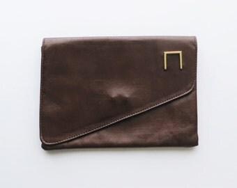 80s Asymmetrical Clutch, Brown Faux Leather, Vinyl Evening Bag Vegan Purse