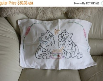 ON SALE Kitten pillow cover 1940s handmade embroidered 2 black cats decorative large pillowcase cat lover cat owner  27 by 16 inches