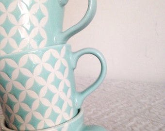 Coffee cups-set of 3 light blue cups