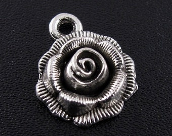 """15%OFF 12pcs 3D Silver Rose Charms, Flower Charms, Lead FREE/Nickel Free Tibetan Silver """"Pewter"""" for Diy Jewelry Making Free Combined Shippi"""