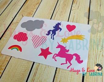 Unicorns - Clouds - Stars - Rainbow Sticker Set