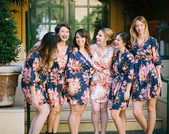 Set of 10 bridesmaids robes/ getting ready robes/ floral kimono robes/ wedding favors/ spa wraps/ maid of honor gift/perfect bridesmaid gift