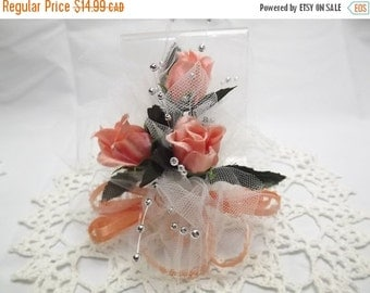 On Sale Now BOHO Peach Silk Flower Wrist Corsage, Bridal Party Roses, Wedding Accessory for Bridesmaid/Mother/Grandmother, or Graduation, Pr