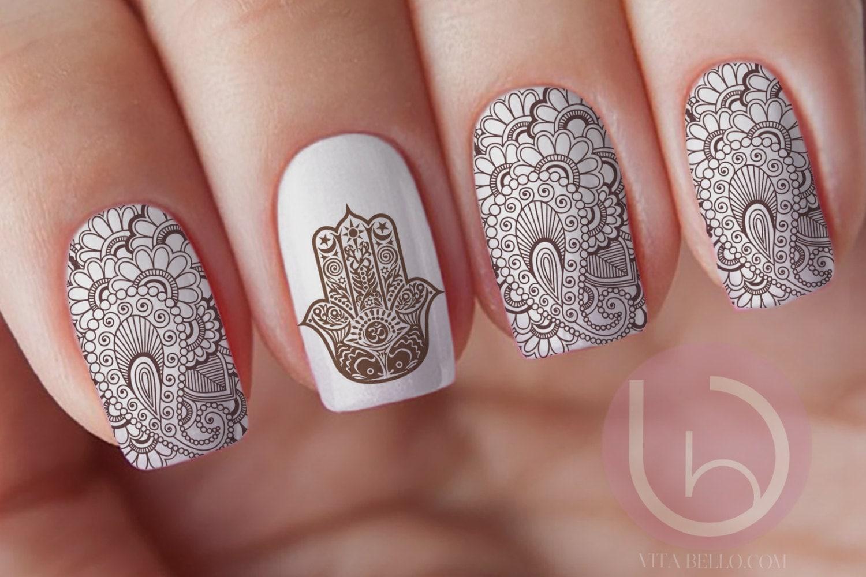 $3.99 - Henna Nail Waterslide Decal, Nail Design, Nails, Press On Nail