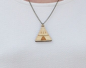 Laser Cut Wooden Teepee Necklace