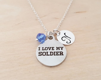 I Love My Soldier Necklace - Swarovski Birthstone - Personalized Gift - Initial Necklace -Sterling Silver Jewelry - Gift for Her
