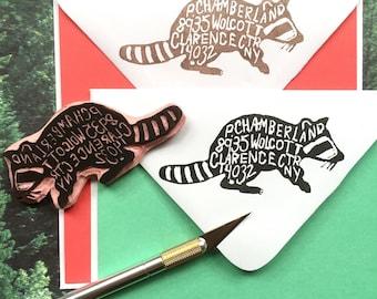 Custom Animal Return Address Hand-Carved Rubber Stamp, Address Label, Housewarming, Wedding Gift