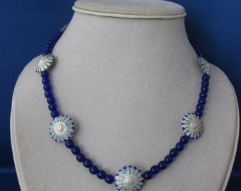 Czech Glass and Cloisonne Necklace