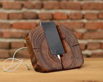 iPhone 6 Stand i6 Dock Wood Wooden iPhone Docking Station Elm wood iPhone Dock Wooden iPhone holder Woodwork