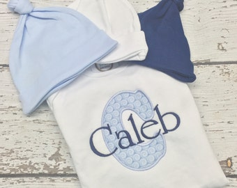 Infant boy gown and cap, newborn gown and cap set, baby boy gown set, Monogrammed Infant Gown with big initial