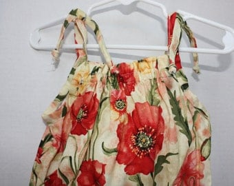 Adorable, Customizable Toddler Sunsuit, Romper (size 2T) - Peonies, Chili Peppers