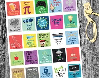 Geek Holiday Planner printable, Planner Printables, Holiday planner, Holiday Sticker Square, printable planner sticker- Horizontal