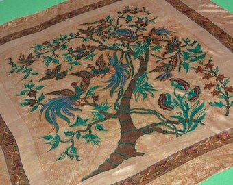 Satya Paul Printed Silk Square Scarf Shawl Brown Green Bird Tree