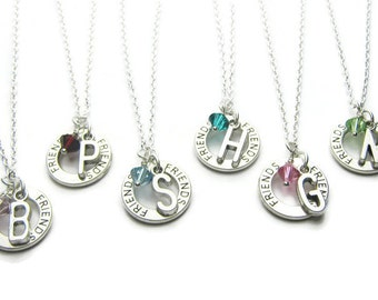 6 Friends Personalized Swarovski Birthstone Necklace, 6 Best Friends Necklaces, Initial Necklace, Birthstone Necklace, Friends Necklaces