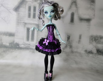 Black and purple corset lace dress and leg warmers hand made fits Monster High doll