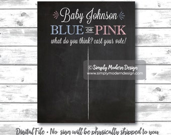 chalkboard gender reveal party cast your vote sign, gender reveal sign, chalkboard, blue or pink, what do you think, PRINTABLE, DIGITAL FILE