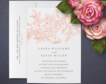 Rose Wedding Invitations, Luxe 100% Cotton paper