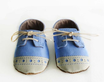 Baby Boy Shoes Sky Blue Canvas with Brogued Beige Leather Soft Sole Shoes Oxford Wingtips Wing tips