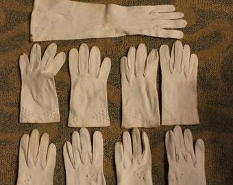 Vintage Assortment of Women's White Gloves