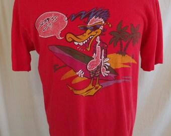 Vintage 1980s  OP Ocean Pacific Surf's Up Dizzy Duck '86 T Shirt Sz L