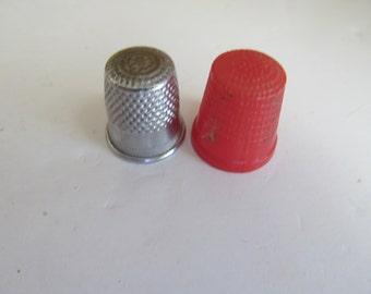 Pr of Thimbles Seamstress Gift Thimble collector Silver Thimble Plastic Thimble Vintage Sewing Notions Sewing Thimbles