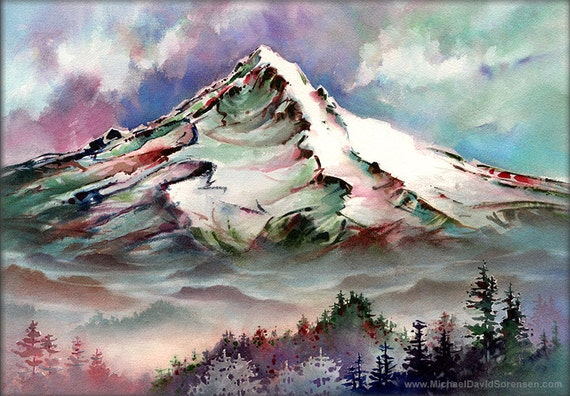 Mount Hood From Larch Mountain Watercolor Painting Print by Michael David Sorensen. Pacific Northwest Mountain Paintings. Mt Hood. Trees.