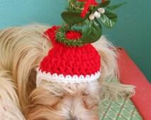Crocheted Christmas Mistletoe Cat or Dog Hat, Merry Kissmas Pet Hat, Xmas Holiday Cat Hat, Photo Prop Pet Hat