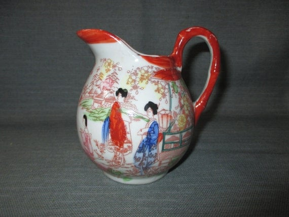 Red Geishas Pitcher, Vintage Porcelain Jug, Hand Painted, Bright Colors, Japan (c. 1920s)