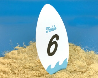 Surf board Table numbers 1-10