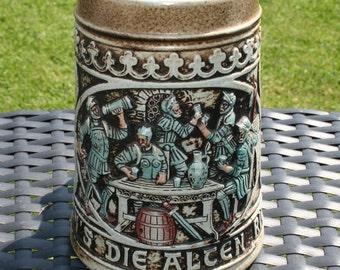 "Gerz West Germany ""Ja, So Warn's Die Alten Ritterslevt"" Beer Stein Mug"