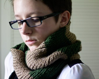brown and green striped scarf - hand knit