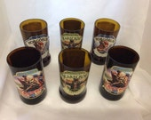 Set of 6  Real Ale/Beer Glasses mix of Different Styles (Recycled  Bottles)