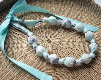 Organic Fabric Necklace,Teething Necklace, Chomping Necklace, Nursing Necklace - Frosty Violets