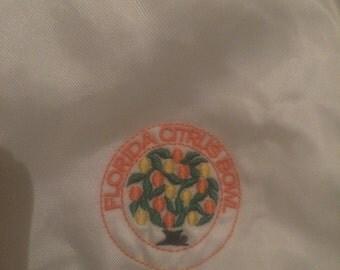 Vintage Florida Citrus Bowl Shiny White Satin Jacket