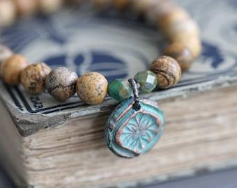Summer Sale Picture Jasper, Stretch Bracelet, Stacking Bracelet, Sterling Silver, Copper Charm, Beaded Bracelet, 8mm, Gemstone Bracelet, Aqu