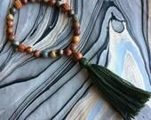 Jasper, Rudraksha and Wood Hand Mala Prayer Beads with Cotton Tassel