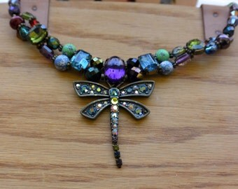 Vintage Chico's Necklace - Dragon Fly, Two Layer Front, Multi Color Stones - Stunning!