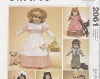 "McCall's Crafts 2061 18"" Doll Clothes Sewing Pattern 1999 Uncut"
