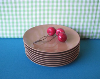 Melmac Small Plates - Texas Ware -  Set of 8 - Melamine Salad Plates - Vintage 1960's