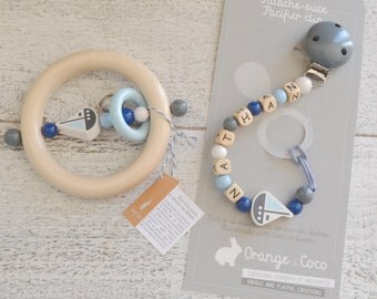 Baby gift set, Pacifier clip, teething toy wooden teether, beaded pacifier clip, bead pacifier clip, baby boy gift, blue gift