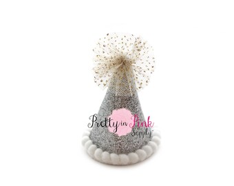 """2"""" Silver MINI Glitter Party Hat-You Choose Quantity-DIY 1st Birthday Photo Prop-Party Hat-Unfinished Party Hat-DIY Supply"""